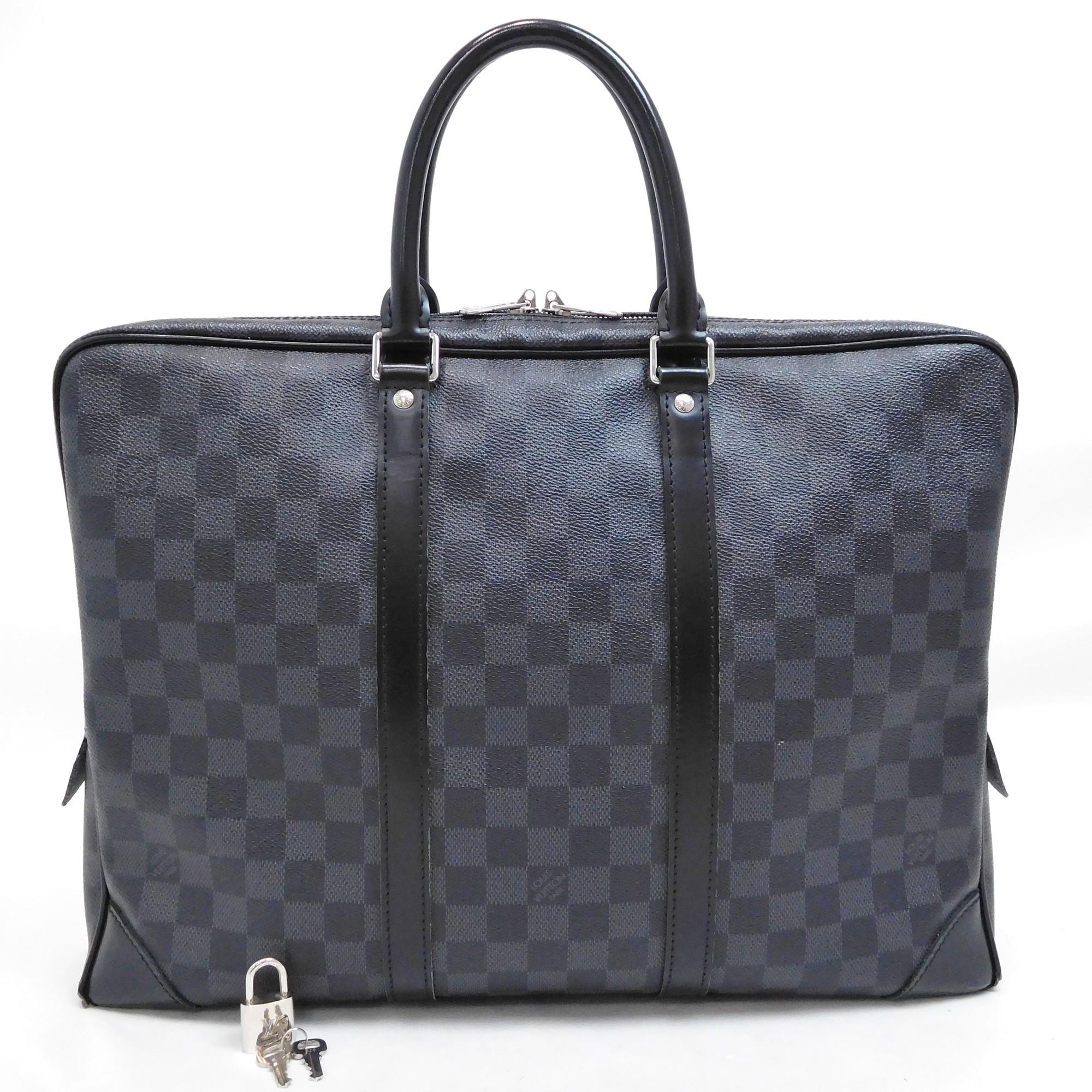 1ef5565d4da1 Auth Louis Vuitton Damier Graphite Porto Docman Voyageur Business N 41125  Men s
