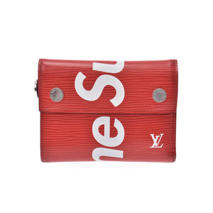 Louis Vuitton Epi Chain Compact Wallet Supreme Collaboration Red M67755 Men's Women's Genuine Leather B Rank LOUIS VUITTON Used Ginza