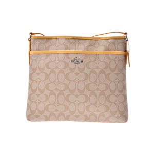 Coach shoulder bag Signature Beige / Yellow Ladies PVC Flat Type F34938 Outlet COACH Used Ginza