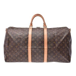 ルイ・ヴィトン(Louis Vuitton) ルイヴィトン モノグラム キーポル バンドリエール55 ブラウン M41414 メンズ レディース 本革 ボストンバッグ Aランク LOUIS VUITTON ストラップ付 中古 銀蔵