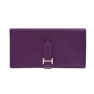 Hermes Barensfure Purple SV metal fittings □ L engraved ladies men's cheeks long wallet AB rank HERMES boxes second hand silver finish