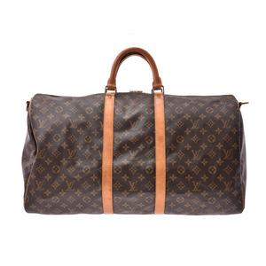 ルイ・ヴィトン(Louis Vuitton) ルイヴィトン モノグラム キーポル バンドリエール55 ブラウン M41414 メンズ レディース 本革 ボストンバッグ Bランク LOUIS VUITTON ストラップ付 中古 銀蔵