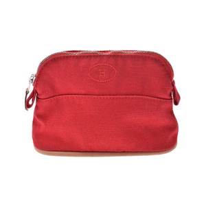 Hermes Boledo Pouch Red Ladies Canvas AB Rank HERMES Used Ginza