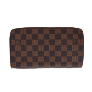 Louis Vuitton Damier Zippy Organizer Old Brown N60003 Men's Women's Genuine Leather Wallet AB Rank LOUIS VUITTON Used Ginza