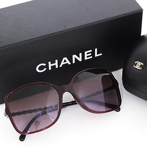 Chanel CHANEL sunglasses 5210-Q-A Coco mark chain motif Bordeaux A rank