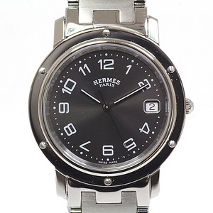HERMES Hermes mens watch wrist clipper CL 6.710 quartz black (black) face board