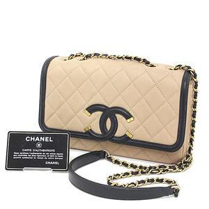 Chanel CHANEL Matrasse W Chain Shoulder Bag Bicolor Caviar Skin Beige Black Gold Hardware Serial Seal Yes Coco Mark