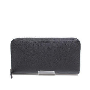 PRADA Prada round zipper long wallet 2ML 317 black Saffian Leather goods