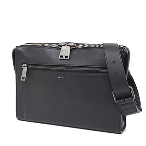 Fendi FENDI Leather Shoulder Bag Black Calf 7VA 407 07B Document Case Like Messenger