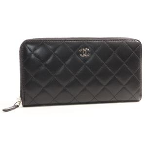 Chanel Matelasse A50097 Women's  Lambskin Wallet Black