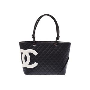 シャネル(Chanel) シャネル カンボンライン ラージトートバッグ 黒/白 レディース ラムスキン ABランク CHANEL ギャラ 中古 銀蔵