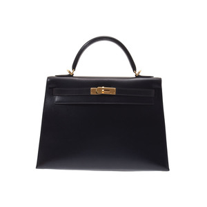 Hermes Kelly 32 Black G Hardware □ F Engraved Outer Sewing Women's BOX Calf 2 Way Bag A Rank 美 品 with HERMES strap Used silver storage