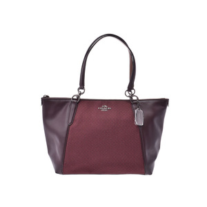 Coach tote bag tea / Bordeaux system F57246 Ladies men's canvas leather new same beauty goods COACH second hand silver storage