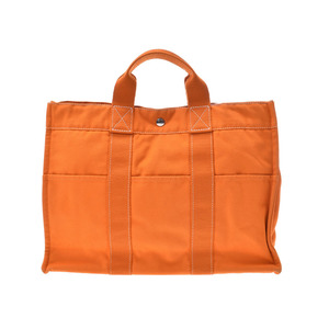 Hermes Deauville MM Orange French Festival Men's Ladies Canvas Tote Bag HERMES B Rank Used Ginza