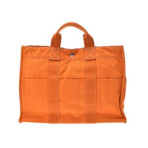 エルメス(Hermes) エルメス ドーヴィルMM オレンジ フレンチフェスティバル メンズ レディース キャンバス トートバッグ HERMES Bランク 中古 銀蔵