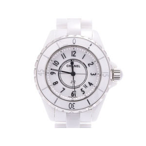 シャネル J12 33mm 白文字盤 H0968 メンズ レディース 白セラミック/SS クオーツ 腕時計 ABランク CHANEL 箱 ギャラ 中古 銀蔵