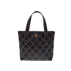 Chanel Wild Stitch Tote Bag Black G Hardware Women's Leather AB Rank CHANEL Used Ginza