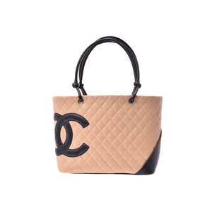 Chanel Cambon Line Large Tote Bag Beige Black Ladies Lambskin AB Rank CHANEL Galler Used Ginza