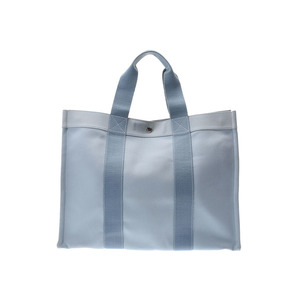 Hermes Bora GM blue men's ladies canvas tote bag B rank HERMES with used pouch Used silver storage