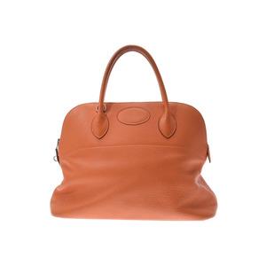 Hermes Boledo 37 Orange SV metal fittings □ G inscribed ladies Triye Clemence handbag B rank HERMES second hand silver stock