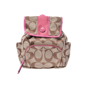 Coach backpack deca signature canvas beige / pink F21928 ladies' rucksack outlet AB rank COACH second hand silver storage