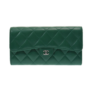 Chanel Matrasse Futon length wallet green SV metal fittings ladies lambskin AB rank CHANEL boxes Gala used silver store