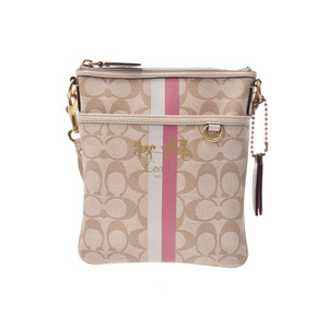 Coach shoulder bag signature beige pink 42385 ladies PVC flat B rank COACH second hand silver storage