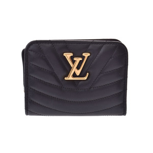 Louis Vuitton New Wave Zipt Compact Wallet Black M63789 Ladies Leather A Rank Mint LOUIS VUITTON Used Ginza