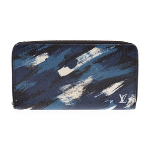 Louis Vuitton Camouflage Zippy Organizer Blue M61676 2016 limited item men's ladies long wallet AB rank LOUIS VUITTON second hand silver storage