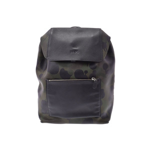 Coach Backpack Camouflage Black / Khaki 72000 Men's Leather A Rank Beauty Item COACH Used Ginza