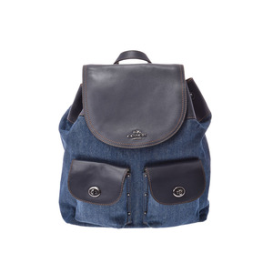 Coach bag pack navy blue / F57905 ladies leather denim backpack outlet A rank beautiful goods COACH used silver storage