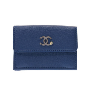 Chanel Small Wallet Blue SV Hardware Women's Goth Skin New Beauty Item CHANEL Used Ginza