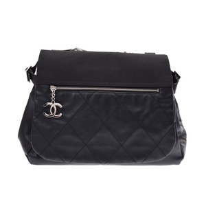 Chanel Paris Biarritz One shoulder bag Black SV metal fittings ladies leather / coated canvas AB rank CHANELL second hand silver stock