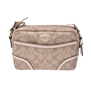 Coach shoulder bag Signature beige / white ladies PVC AB rank COACH second hand silver storage