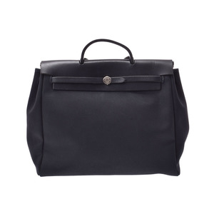 Hermes ale bag MM black SV metal fittings □ E engraved mens ladies canvas / leather 2 WAY B rank HERMES replacement attaching used secondhand goods