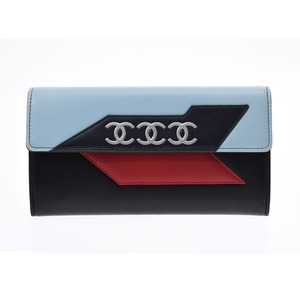 Chanel Airline Fastener Purse 2016 Blue / Red Black Ladies Lambskin AB Rank CHANEL Used Ginza