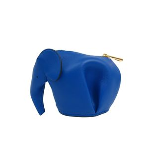 LOEWE Elephant Coin Purse Smooth Calf Blue 199.30JG73