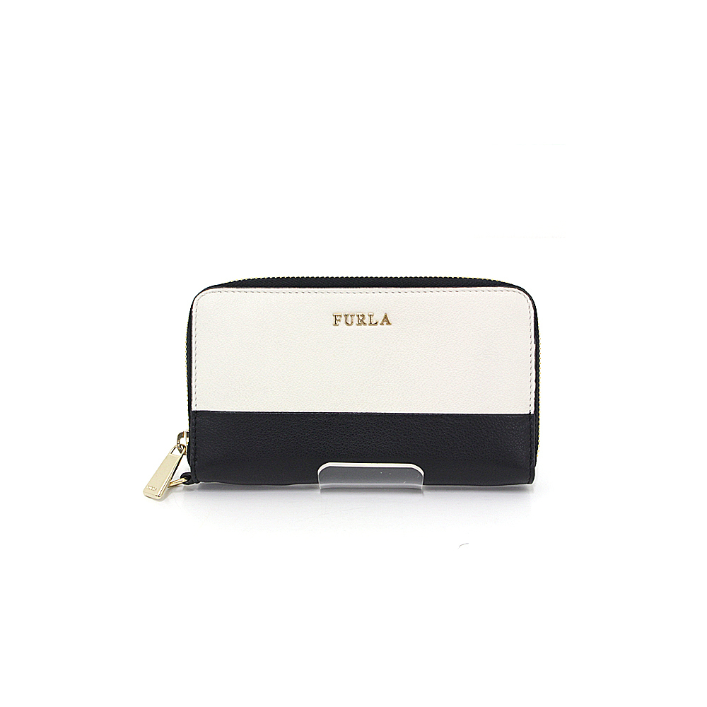 Furla FURLA round zipper purse 00766475 OP3 white × black gold hardware