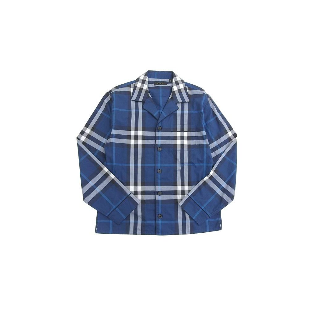 Authentic BURBERRY Burberry Runway Shirt Check Blue Men's S