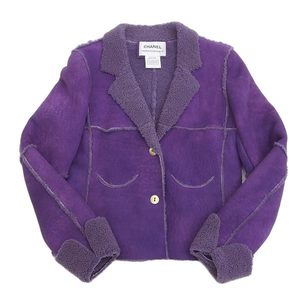 Genuine CHANEL Chanel Mouton jacket short coat 00A purple 36
