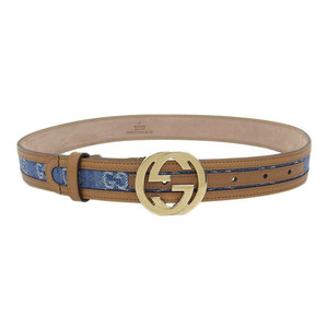Genuine GUCCI Gucci Men's Interlocking Buckle Denim Belt Blue 80/32 114874