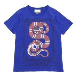 Genuine GUCCI Gucci Snake Print Short-sleeved T-shirt Blue XS