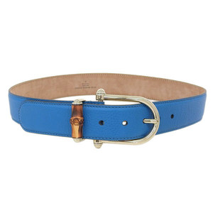 Genuine GUCCI Gucci leather bamboo belt blue gold 80/32 282254