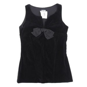 Genuine CHANEL Vintage Chanel Front Ribbon Velor Sleeveless Tops Black 40