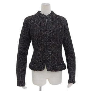 Genuine CHANEL Chanel Knit Jacket Cardigan Black 42 03A