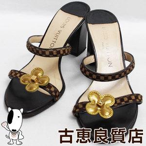 LV lv Louis Vuitton LOUIS VUITTON Ivory Damier Halaco Women's Shoes Mule Size 34 1/2 Japan About 21.5 cm Monogram Flower