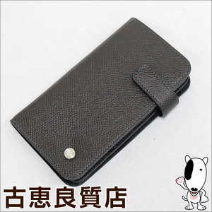 a0da07915ca4 dunhill BOURDON calf leather dark gray card case pass L2M1C2Zhon