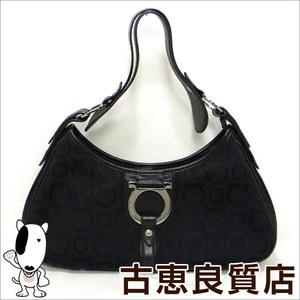 Salvatore Ferragamo SALVATORE FERRAGAMO shoulder bag one semi-shoulder black gancini canvas / leather FH - 21 hon