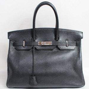 HERMES Hermes Birkin 35 □ C Engraved Handbag Silver Hardware Shell Coromandel