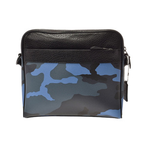 Coach shoulder bag blue camouflage pattern outlet F29052 Men's leather unused beauty item COACH second hand silver storage